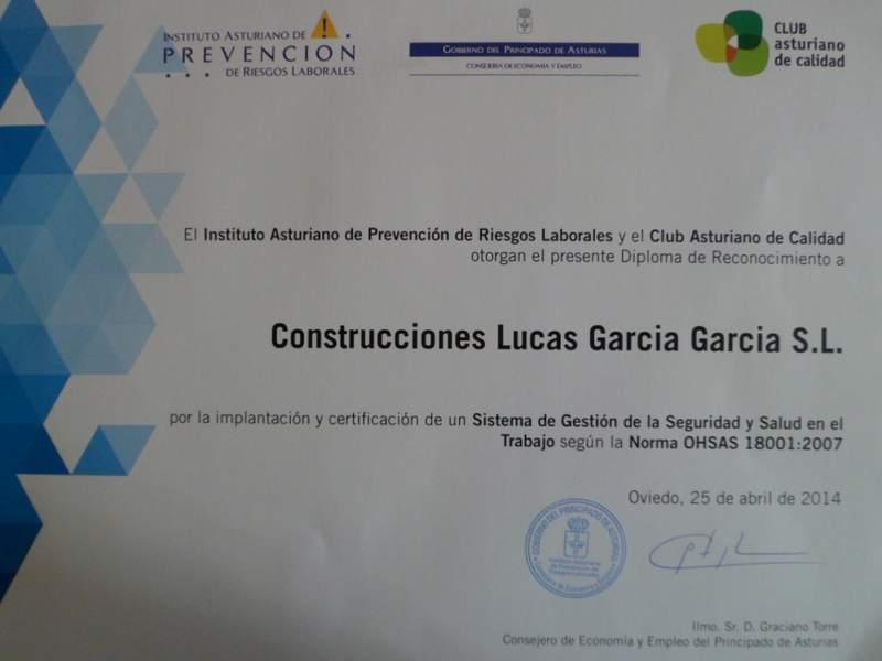 Diploma de Reconocimiento por la implantación y certificación de un Sistema de Gestión de la Seguridad y Salud en el Trabajo según la Norma OHSAS 18001:2007