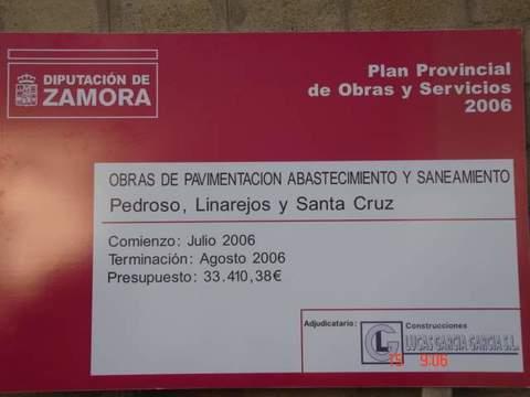 Construcciones Lucas Garcia - Abastecimiento, saneamiento y pavimentación en Pedroso, Linarejos y Santa Cruz (Zamora) - Construcciones Lucas García, S.L.